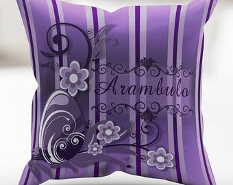 Personalized Purple Easter Celebration Swirls  Print Pillow Cover 18 x 18 Inches