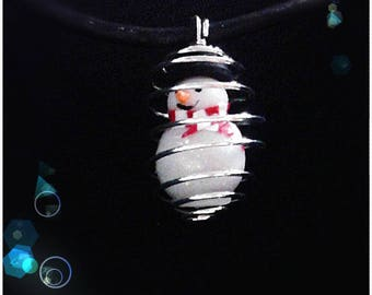 C631: snowman snow polymer clay necklace