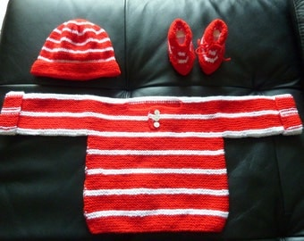 sweater, booties and beanie 6 months