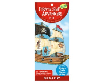 Pirate theme stickers / pirate ship to assemble and decorate with stickers
