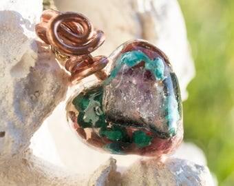 Crystalline Orgone Pendant  Malachite, Lapis Lazuli, Pink Tanzanite, Turquoise  - Life Force Generator 528hz /  EMF Protection