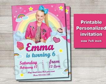 JoJo Siwa Invitation - DIGITAL FILE - birthday party invitation printable