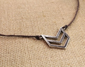 """Chevron Charm Brown Knotted Hemp Necklace 18"""""""