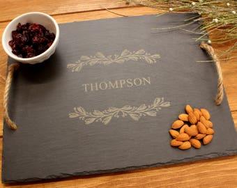 Slate Serving Tray,Farmhouse Tray,Serving Tray Personalized,Engraved Serving Tray,Personalized Platter,Slate Cheese Board