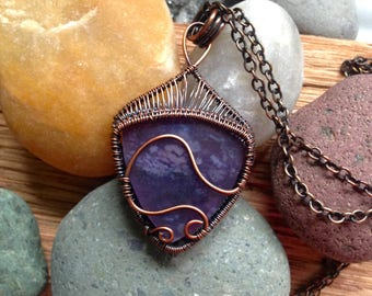 Handwoven High Quality Gemmy Purple Salvia Chalcedony Pendant
