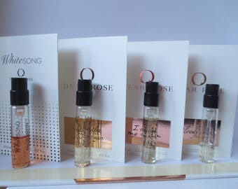Dear Rose 2ml samples, Whitesong, Sympathy For The Sun, I Love My Man, Bloody Rose.