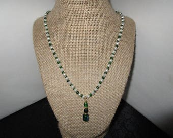 Small White Pearl Necklace w/Green Pennant