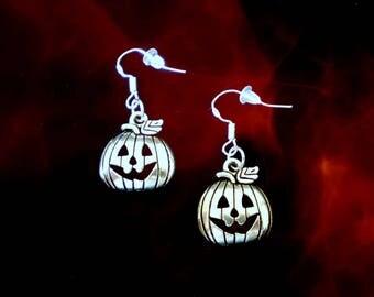 Pumpkin Earrings..Halloween Earrings..Fall Earrings..Thanksgiving Earrings..Autumn Earrings..Silver Pumpkin Charm Earrings..Pumpkin Jewelry