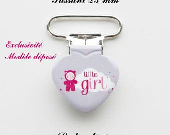 10 clips heart pacifier grey cloud doll Little girl from 25 mm