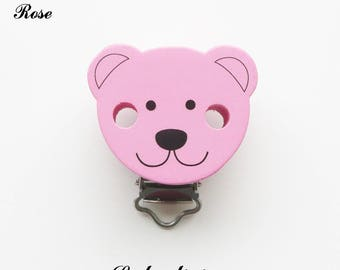 Clip / bow, wooden pacifier Clip, Teddy bear: pink
