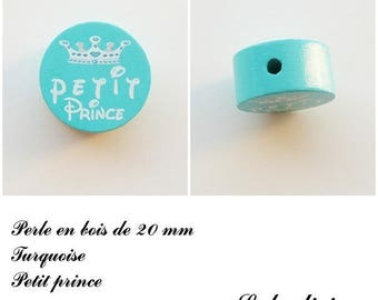 20 mm wooden bead, Pearl flat, little prince: Turquoise