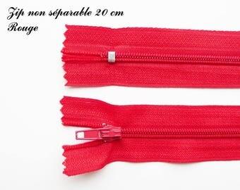 Simple not separable 20 cm zip 1: Red