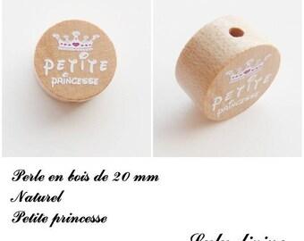 20 mm wooden bead, Pearl flat, little Princess: natural