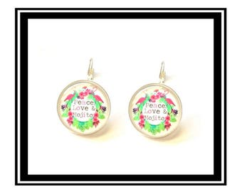 "Earrings ""Peace, Love & Mojito"" golden heart, love, quotes, quotes, zen"