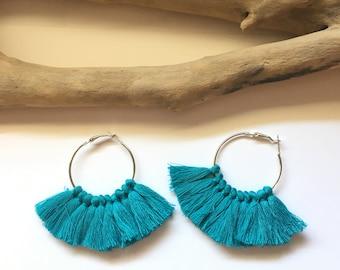 Elegant hoops & peacock blue tassels! Large earrings, tassel pom pom pom pom earrings blue fancy Bohemian style