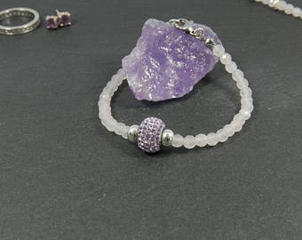Rose Quartz bracelet with sparkling Strassperle