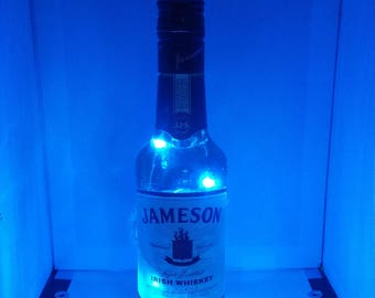 Jameson color changing LED lamp (battery) Glass Liquor Bottle - LED Lighting with REMOTE!!