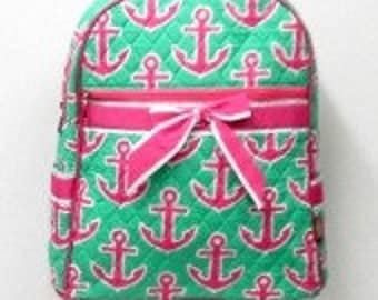 Quilted Backpack w/ Anchor pattern lime & pink, light blue, lime, pink.  Personalize w/ name, monogram, etc.