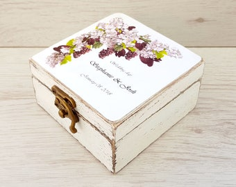 Wedding ring box, Rustic ring box, Personalized holder, Ring bearer box, Wooden ring box, Ring box, Ring holder with grapes, Floral wedding