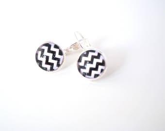 Earrings Chevron black and white, black and white chevrons cabochon earrings