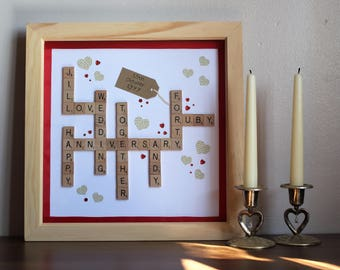 Personalised Wedding Anniversary Scrabble Frame