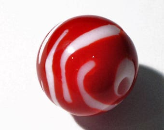 1 round Zebra bead red and white 20mm AR361 Red