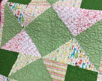 Pink Star Baby Quilt