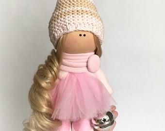 Textile doll. Handmade doll. Tilda doll. Soft doll. Cloth doll. Collectable doll. Rag doll. Interior doll. by MaryKateToys.