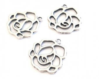 X 20 silver plated rose charms 23mm ❤ ❤