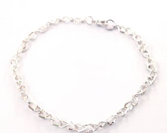 X 4 white light silver metal chain bracelets