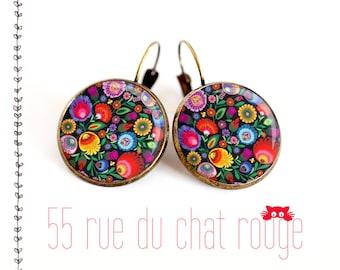 Earrings pendant, asymmetrical, Hindu, India, folklore, multicolor,