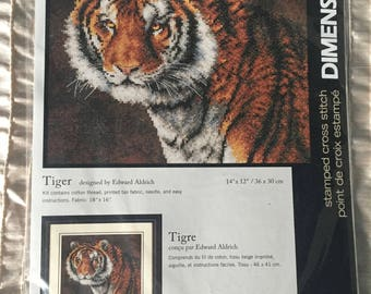 "Dimensions Stamped Cross Stitch Kit ""TIGER"" # 3236"