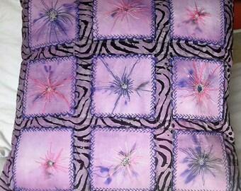 Set of  3 Purple Batik (from Tanzania, East Africa) Cushion Covers