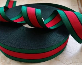 "1.5"" Vintage Stripe Straight Edge woven  Millinery Ribbon Trim in beautiful Green and Red, Black grosgrain"
