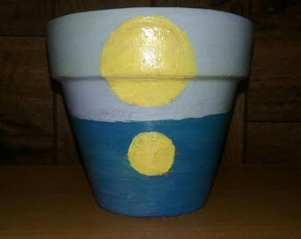 """Small 4"""" (approx) Hand Painted Terra Cotta Pot with Sun on the Water"""