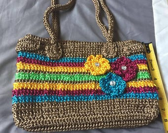 Beautiful Hand Made Knit Flower Tote