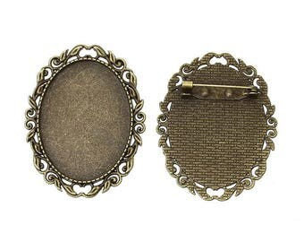 1 brooch support(medium) cabochon 30 x 40 mm oval antique bronze