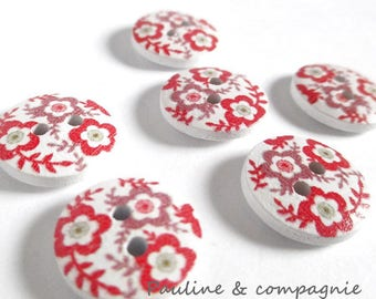 8 fancy floral wooden buttons liberty diameter 1.5 cm