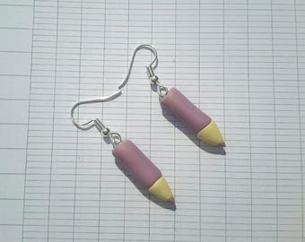 Small pencil earrings handmade polymer clay ❤ ❤