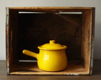 Vintage Italian Albisola Coop. Stov. Coopstov Covered Crock / Terra Cotta Pot / Yellow