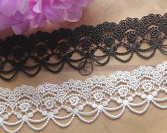 """Embroidery lace trims ribbons 4.5cm 1.77"""" Victorian BLACK OFF WHITE x1 yard LXGB08"""