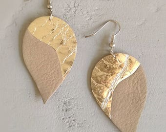 soft leather earrings, taupe and silver