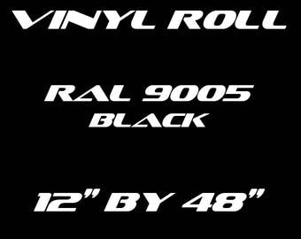 Black - RAL 9005 - Matte Vinyl Roll - 5 Year Durability Indoors or Outdoors - 75 Microns