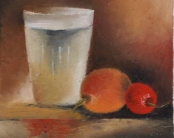 Oil on canvas: glass, loquat and cherry
