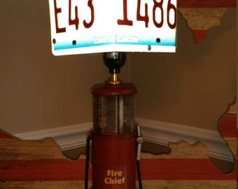Gas Pump Lamp with License Plate Shade