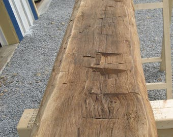 "84"" Reclaimed Hand Hewn Oak Mantle Log"