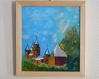 Painting of Collonges Red: Corrèze: oil + acrylic on wood