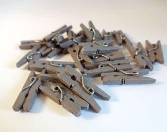 Mini clips wood (x 24) grey - decoration - home decor - embellishment