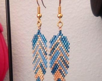 """Blue feather"" earrings"