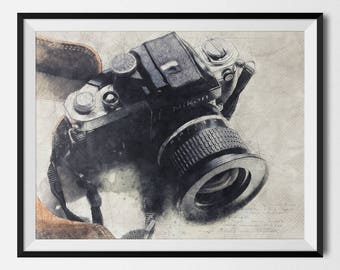 Nikon Camera Poster, Nikon Camera, Nikon Camera Print, Camera Wall Decor, Camera Wall Art, Vintage Camera, Retro Camera, INSTANT DOWNLOAD